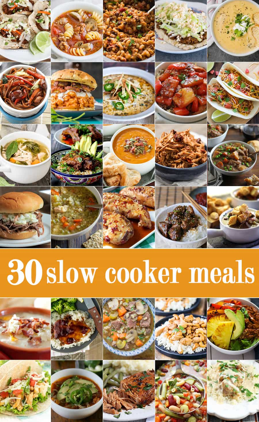 30 SLOW COOKER MEALS! These are the best ever easy recipes for a crockpot all in one place! If you need an easy dinner idea, you've come to the right place!