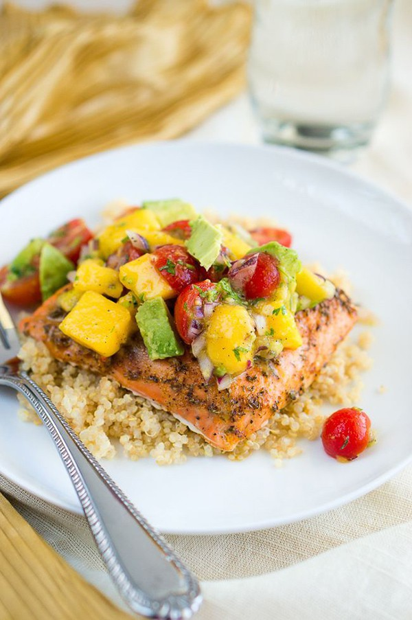 Blackened Salmon with Mango Avocado Salsa | Delicious Meets Healthy