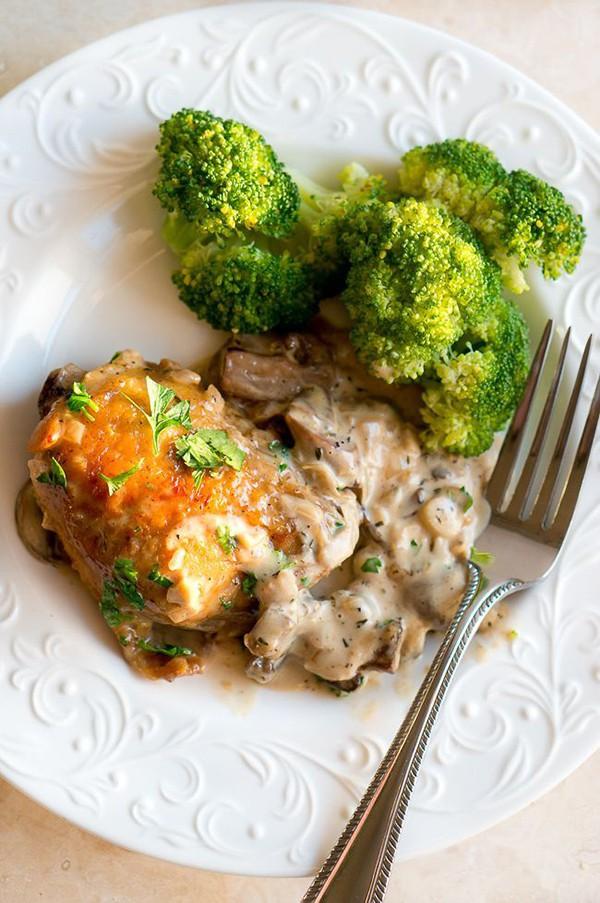Chicken in Creamy Mushroom Sauce | Delicious Meets Healthy