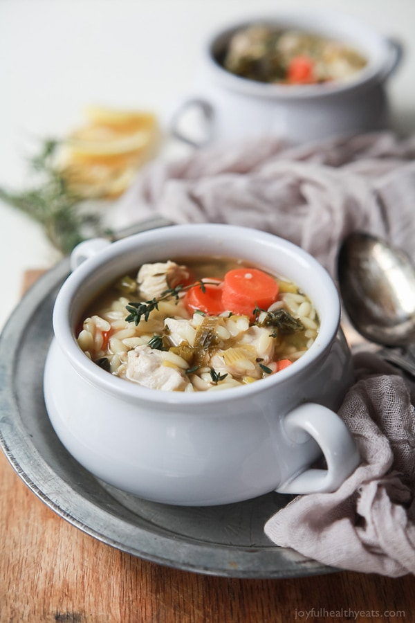 Light Lemon Chicken Orzo Soup | Joyful Healthy Eats