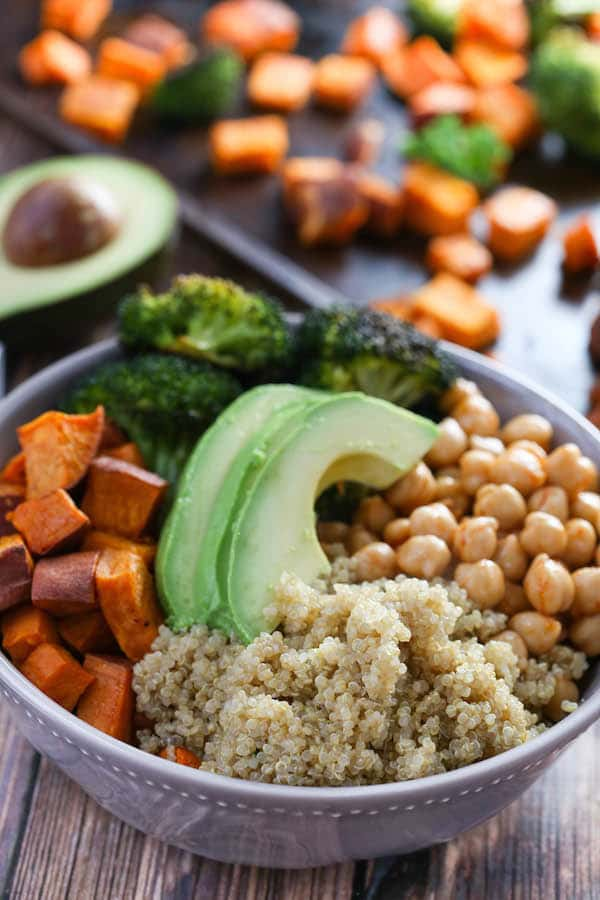 quinoa bowl with chickpeas and sweet potato