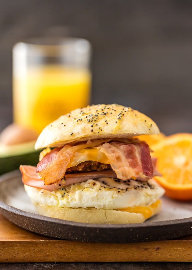 close up of ultimate baked breakfast sliders