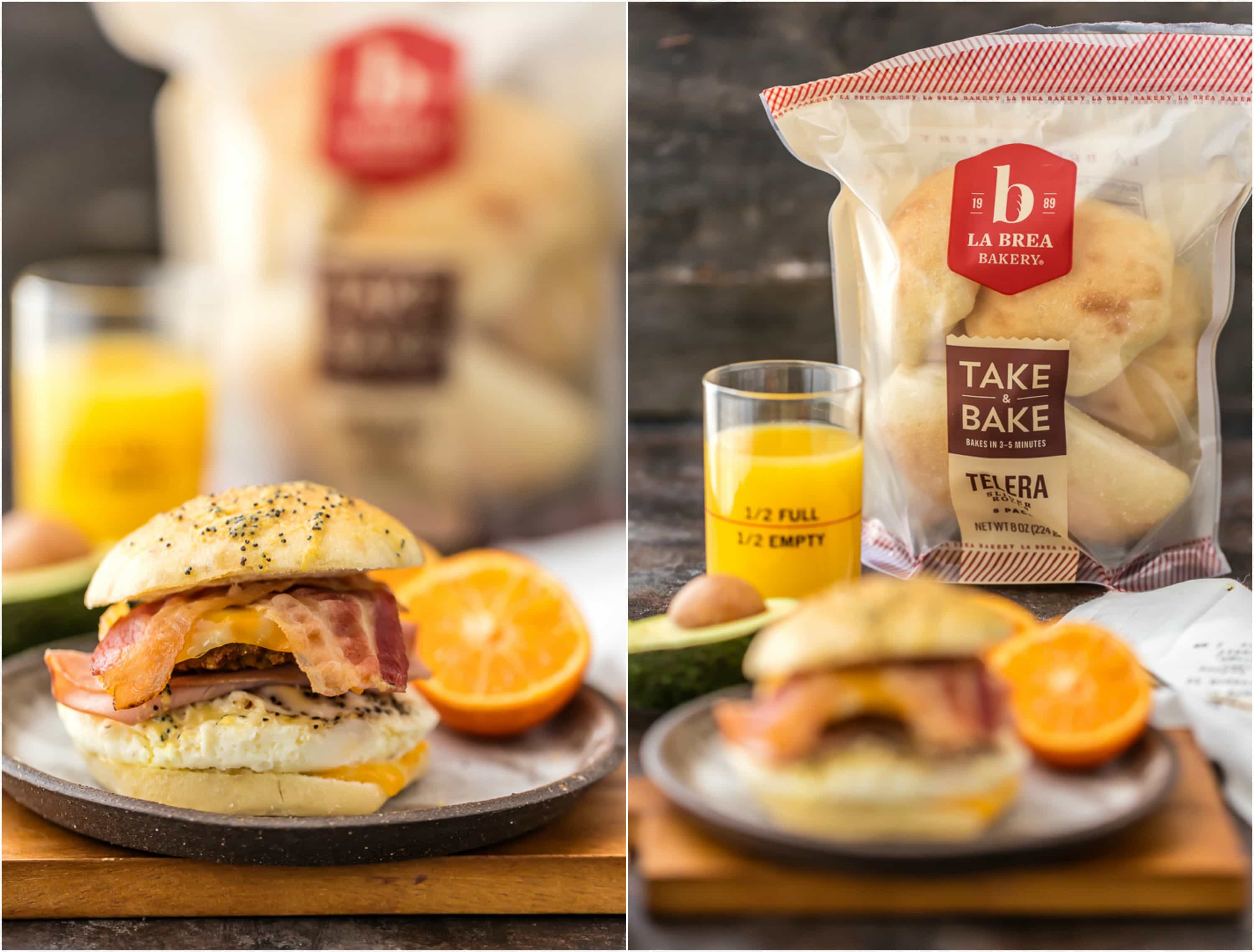 two shots of ultimate baked breakfast sliders with take and bake rolls in background