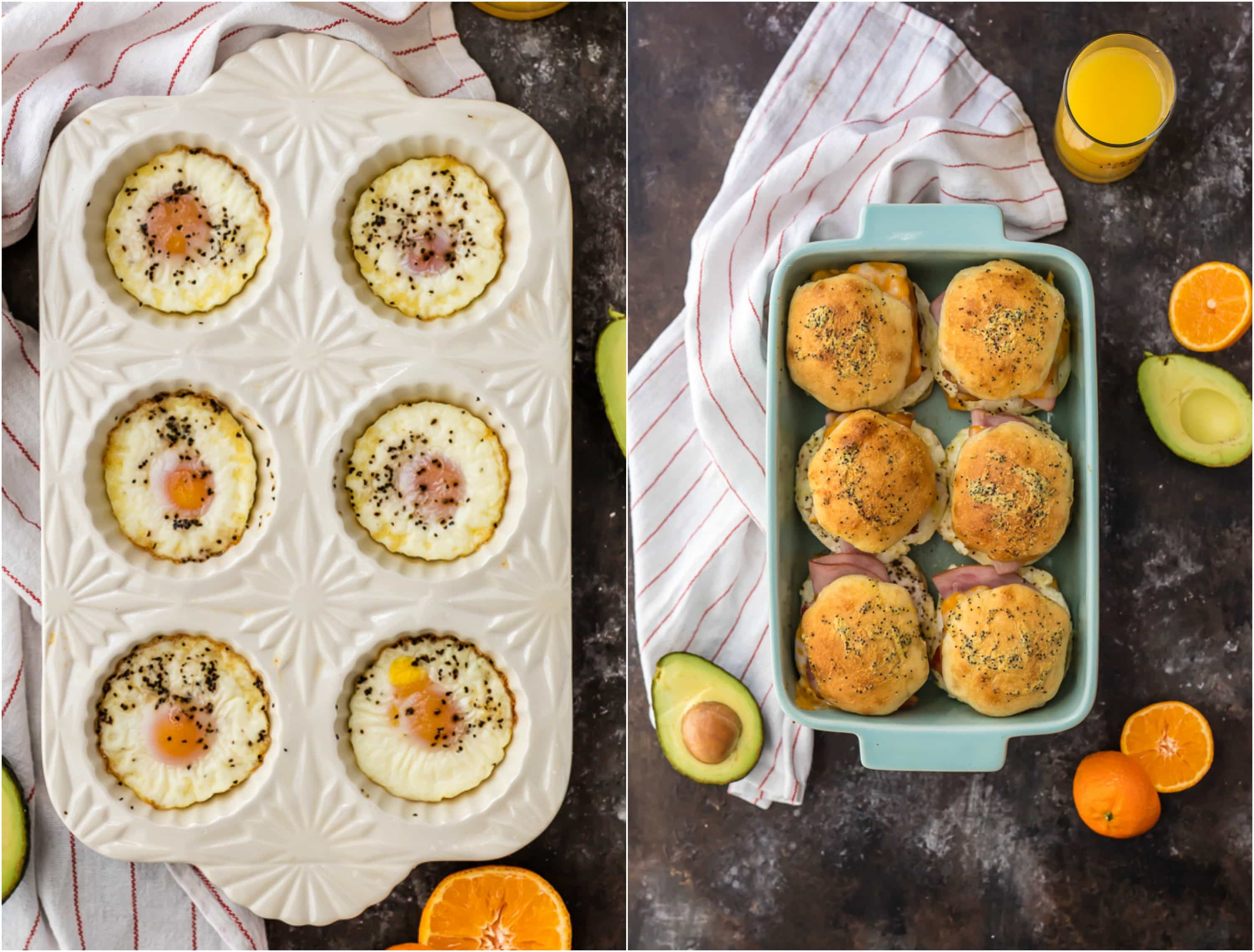 baked eggs and baked ultimate baked breakfast sliders in a pan