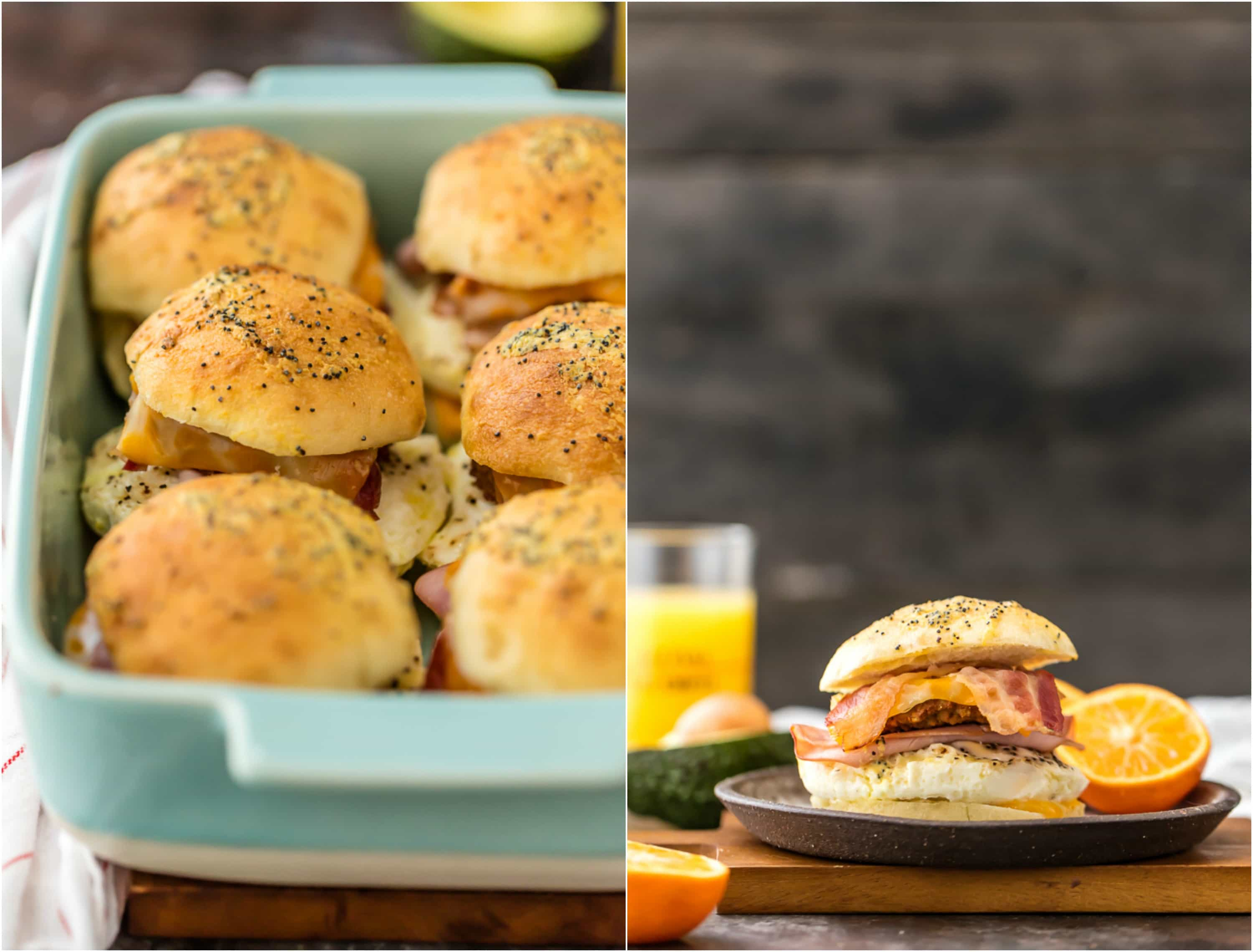 pan of ultimate baked breakfast sliders and one on plate