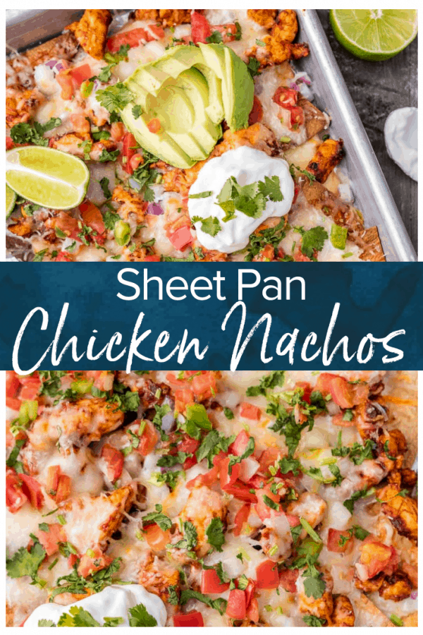 Chicken Nachos are great for feeding a crowd! This Tequila Lime Baked Chicken Nachos recipe is just AMAZING! These easy sheet pan nachos are so delicious, and perfect for any occasion.