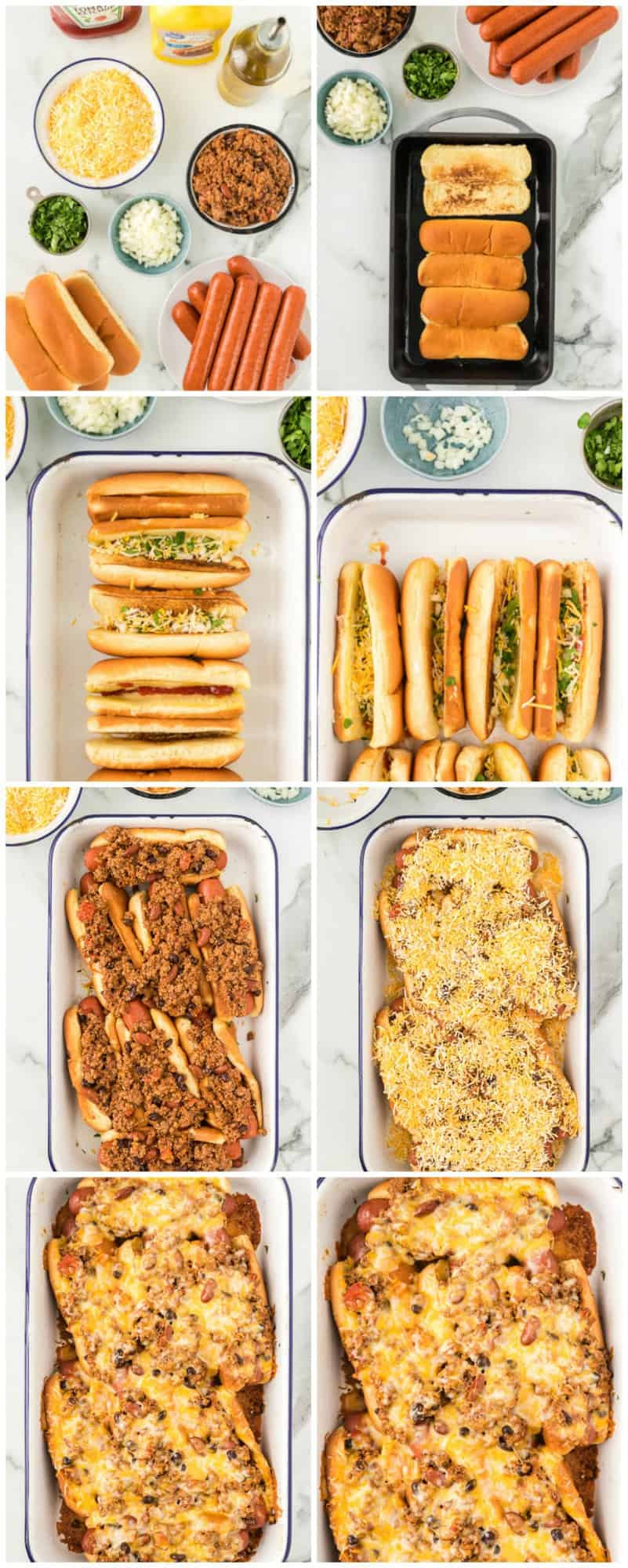 step by step photos of making chili dogs