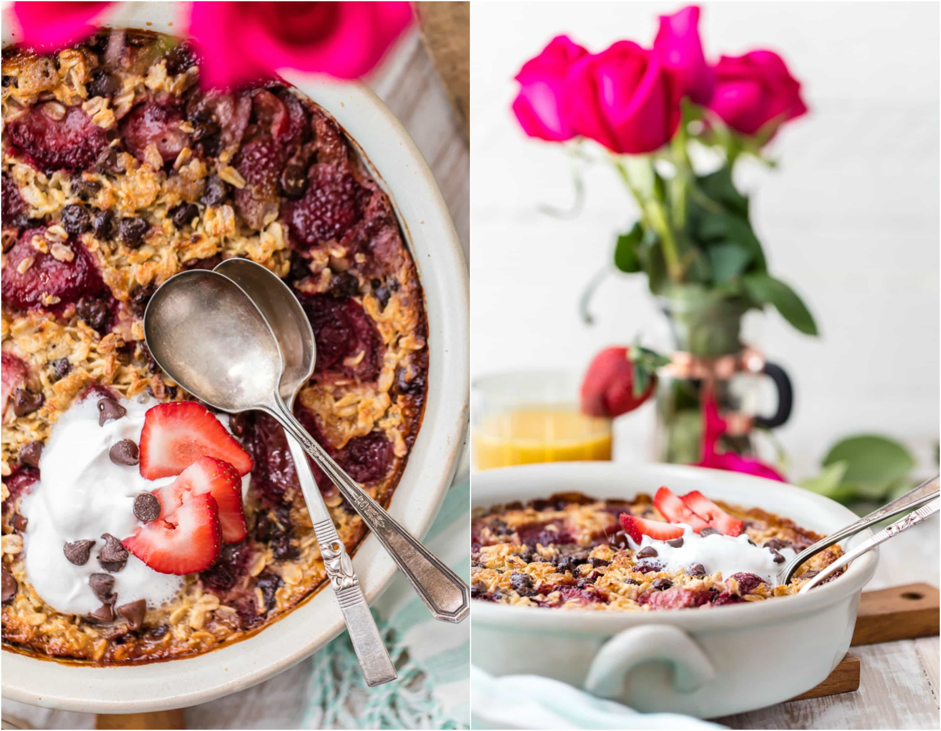 Chocolate Covered Strawberry Baked Oatmeal - The Cookie Rookie
