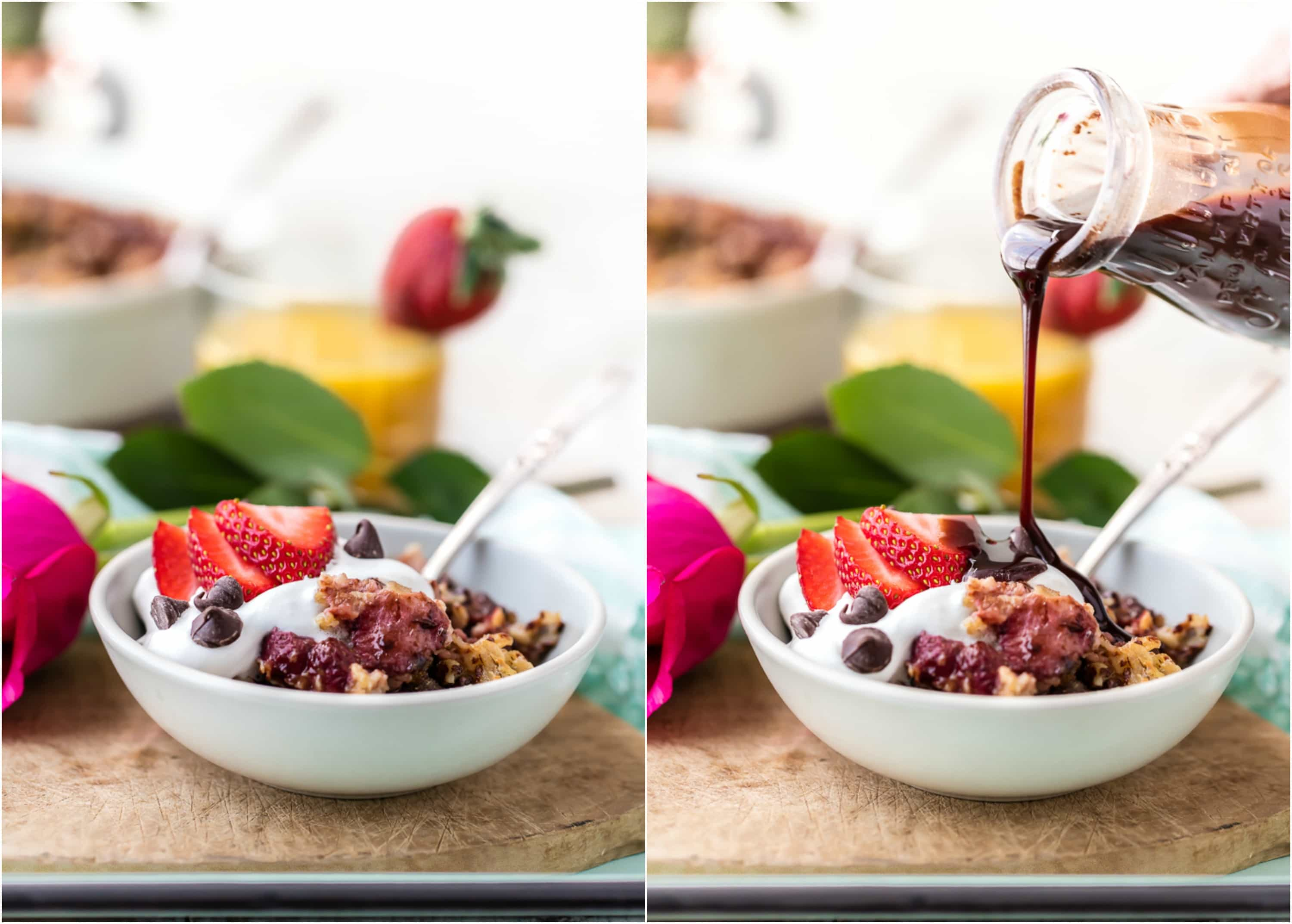 Chocolate Covered Strawberry Baked Oatmeal Is The Perfect Breakfast In Bed  For Valentineu0027s Day!