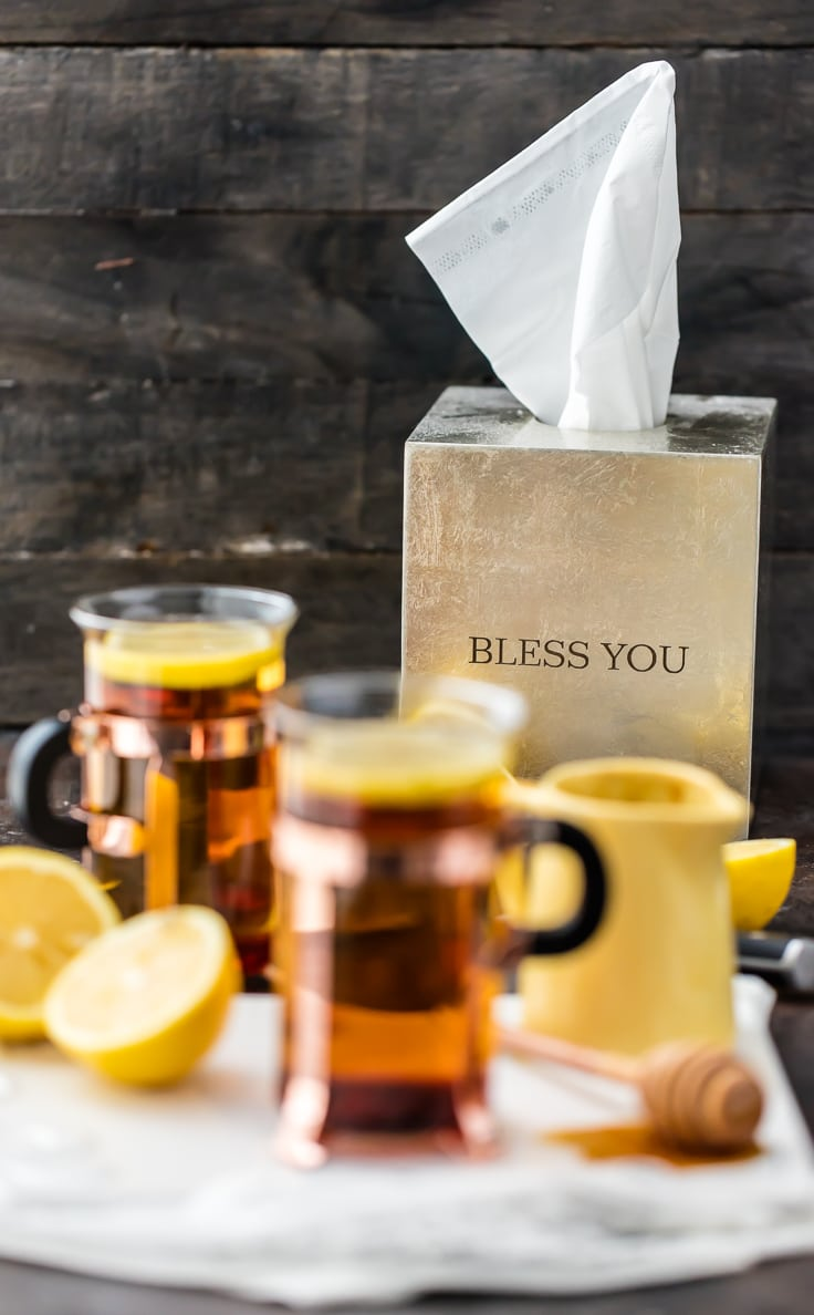 The best way to get better is with a COLD REMEDY HOT TODDY! Our family swears by this for getting over head colds. This easy warm cocktail is much tastier than cough syrup!