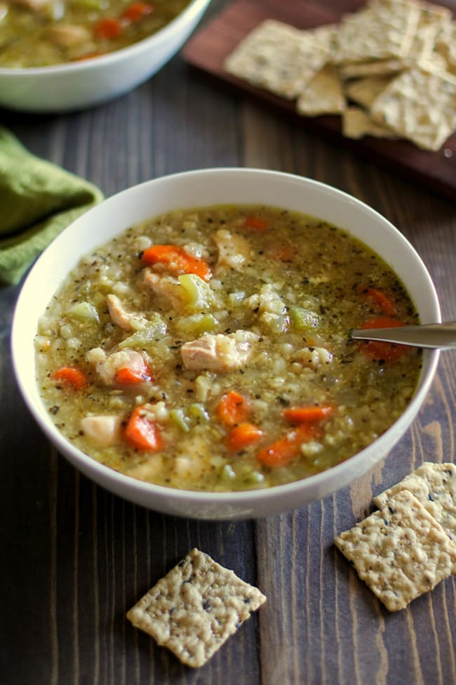 Crock Pot Chicken and Rice Soup | The Roasted Root