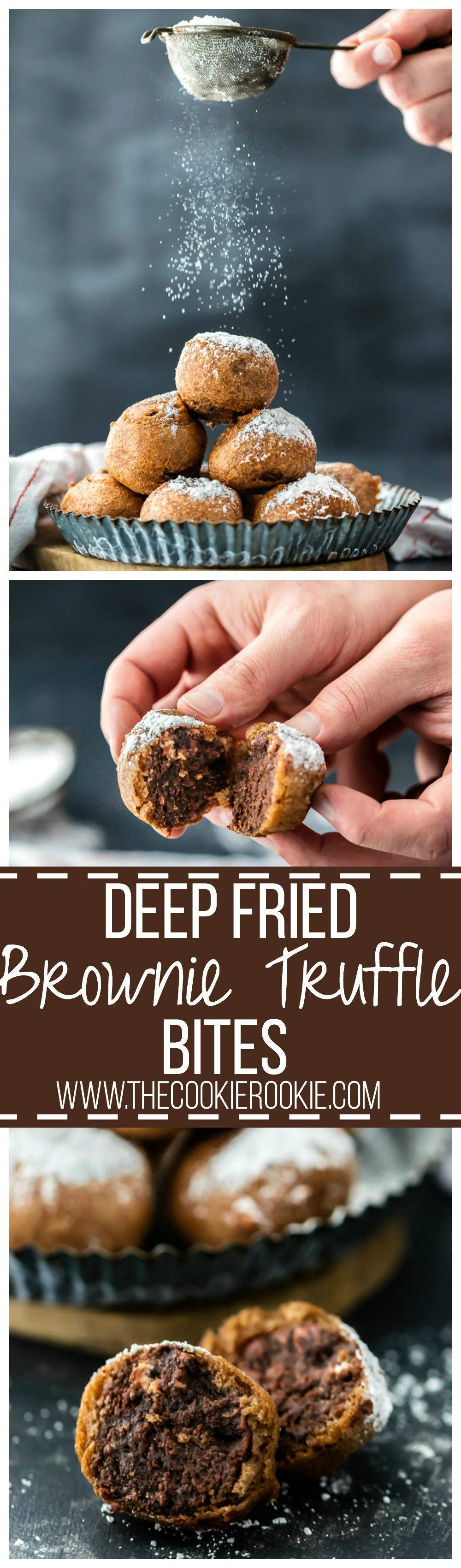 FRIED BROWNIE TRUFFLE BITES! Don't let your leftover brownies go to waste! Make fried brownie bites! Tastes like melted brownie batter. AMAZING dessert for any occasion!