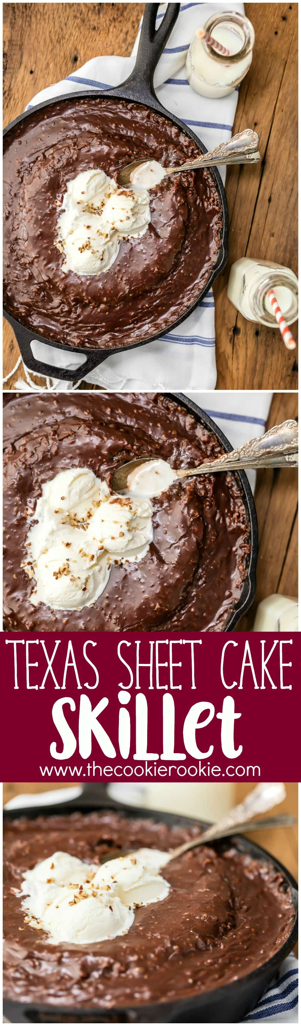 Gooey Texas Sheet Cake Skillet - The Cookie Rookie