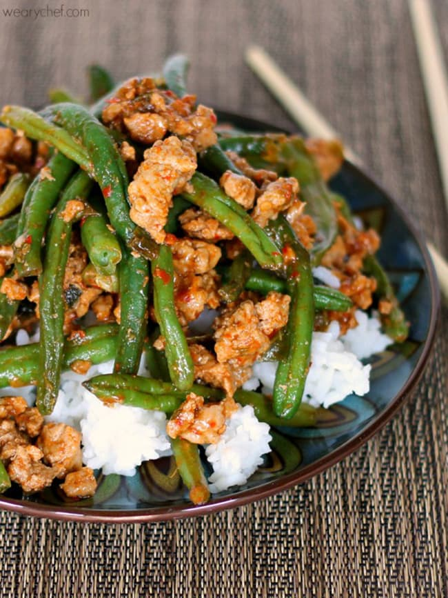 Chinese Green Beans with Ground Turkey over Rice | The Weary Chef