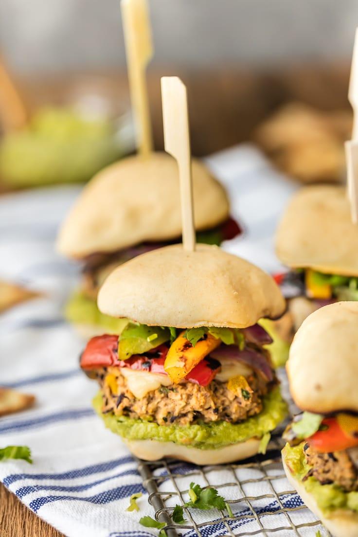 vegetarian sliders with black bean burgers and veggies