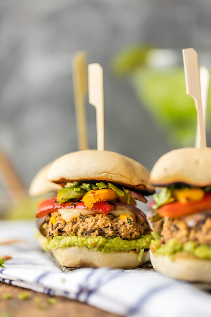 mini black bean burgers with fajita veggies, hummus, and guacamole