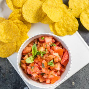 italian salsa in a bowl and chips