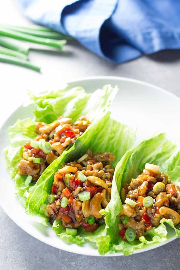 Cashew Chicken Lettuce Wraps with Orange Ginger Sauce | Kristine's Kitchen