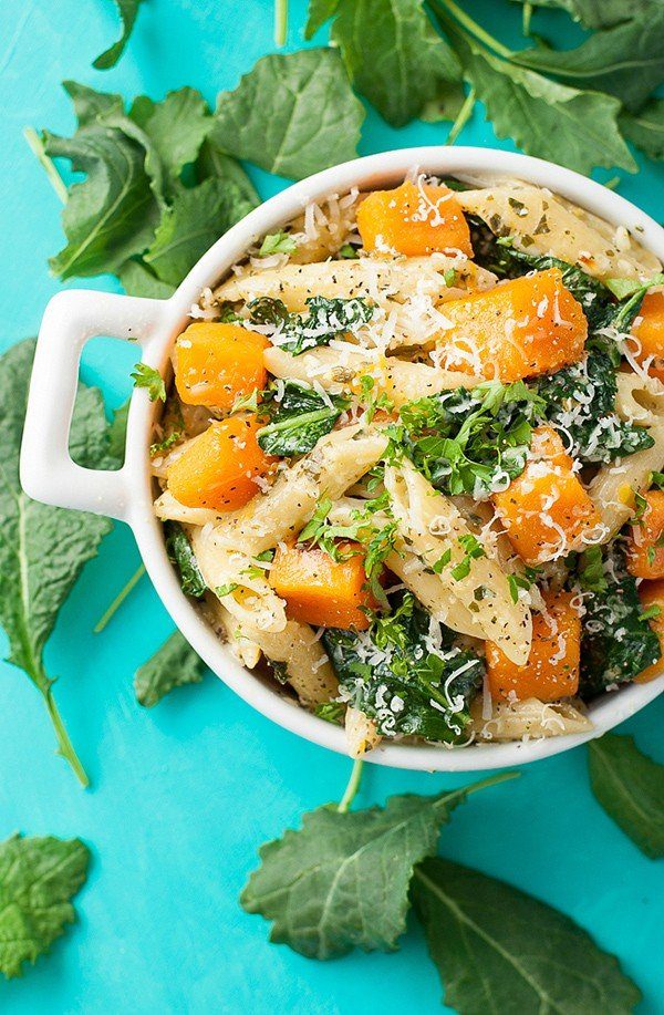 Pesto Penne with Roasted Butternut Squash and Kale | Peas and Crayons