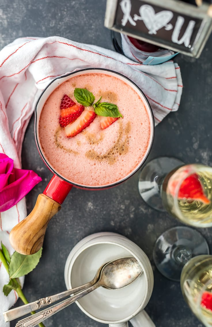 champagne strawberry soup in a red saucepan