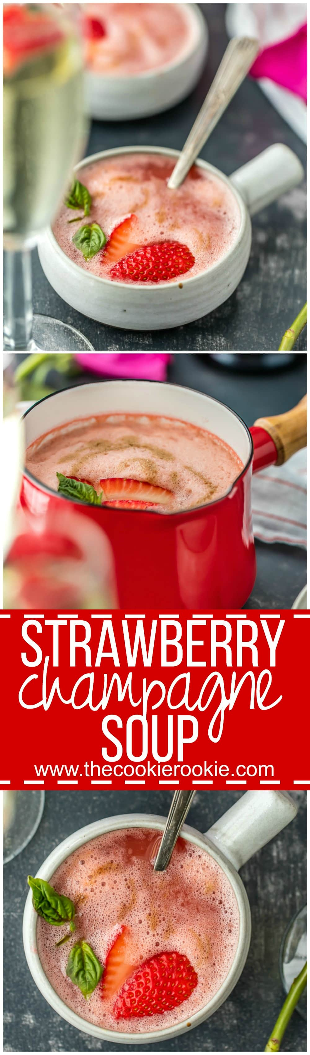 Strawberry Champagne Soup, served hot or cold, is the perfect side dish or appetizer for Valentine's Day, baby showers, bridal showers, or breakfast in bed! Beautiful and easy strawberry soup!