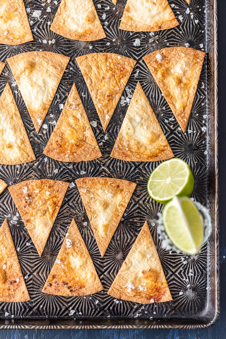 flour tortilla chips on a baking sheet