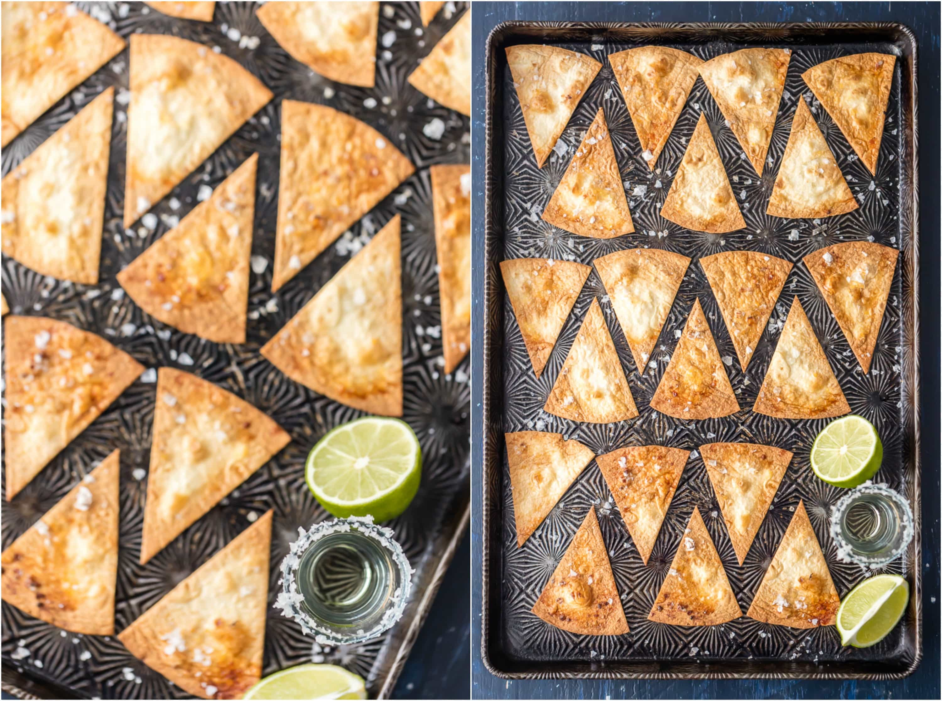 homemade tortilla chips on a baking sheet