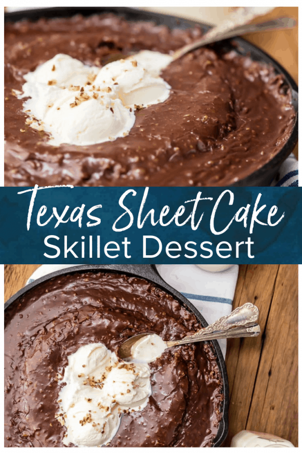 Texas Chocolate Sheet Cake is a classic, and this fun skillet version is just as gooey, chocolatey, and delicious! This easy chocolate cake recipe is just as easy as baking it in a sheet pan. Top this tasty skillet dessert with ice cream and dig in!