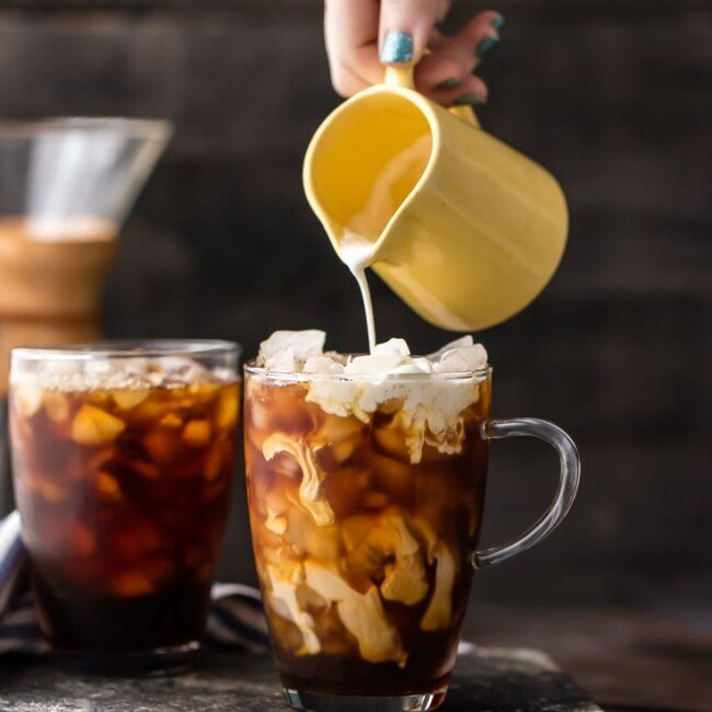FAVORITE COFFEE RECIPE; Spiked Thai Iced Coffee! Such a refreshing, flavorful, and easy iced coffee recipe. A splash of Amaretto takes it over the top! Both cocktail and mocktail versions!