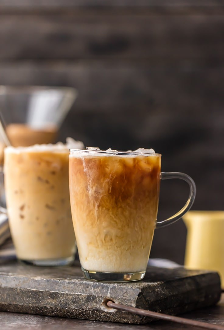Thai Iced Coffee mugs with creamer mixed in