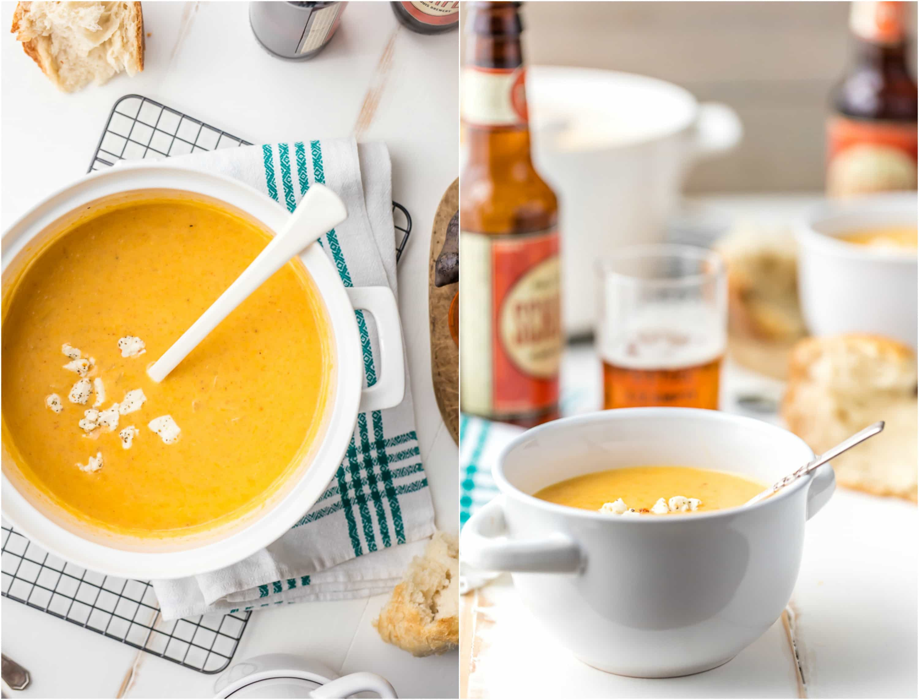bowls of beer soup on a tablescape