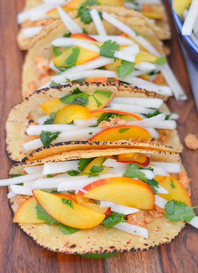 Jicama Peach Salsa with Tuna Tacos | Luci's Morsels