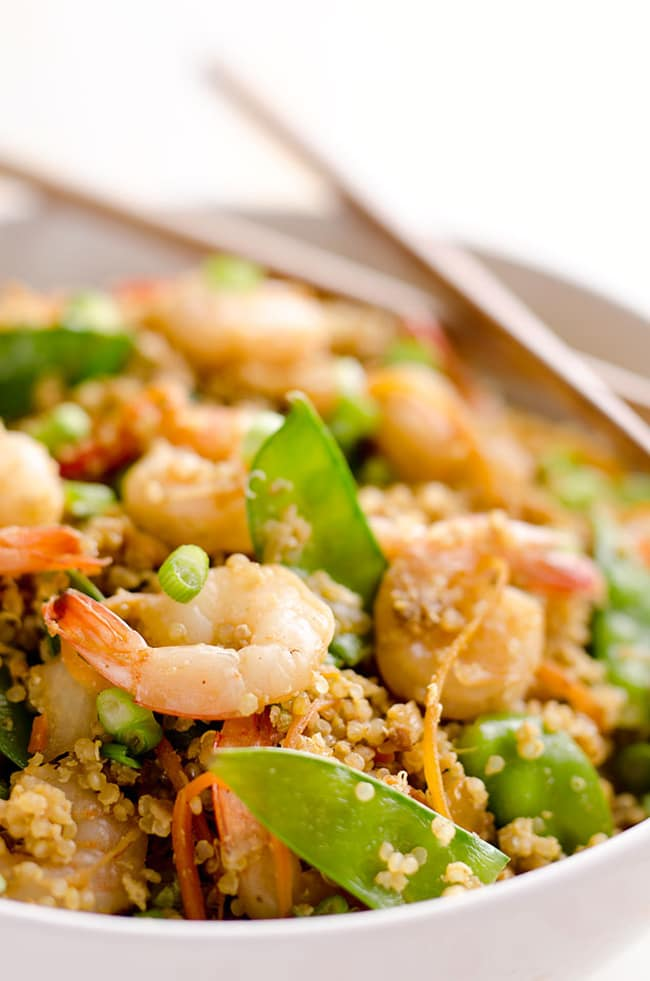Light Shrimp Fried Quinoa | The Creative Bite