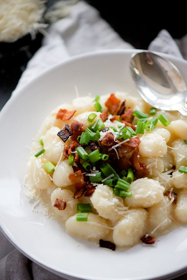 Skinny Loaded Baked Potato Gnocchi | With Salt and Wit