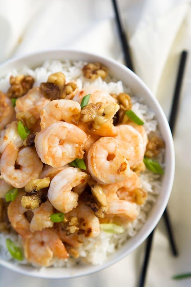 Skinny Honey Walnut Shrimp | Rachel Cooks