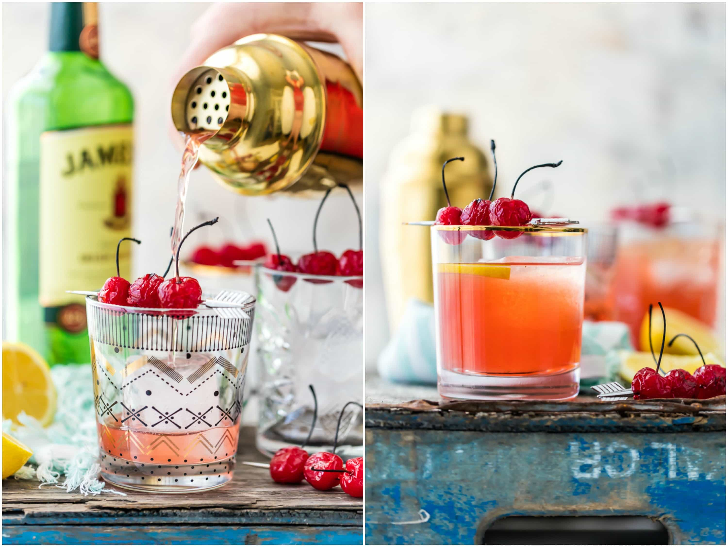 broiled cherry whiskey sours in cups