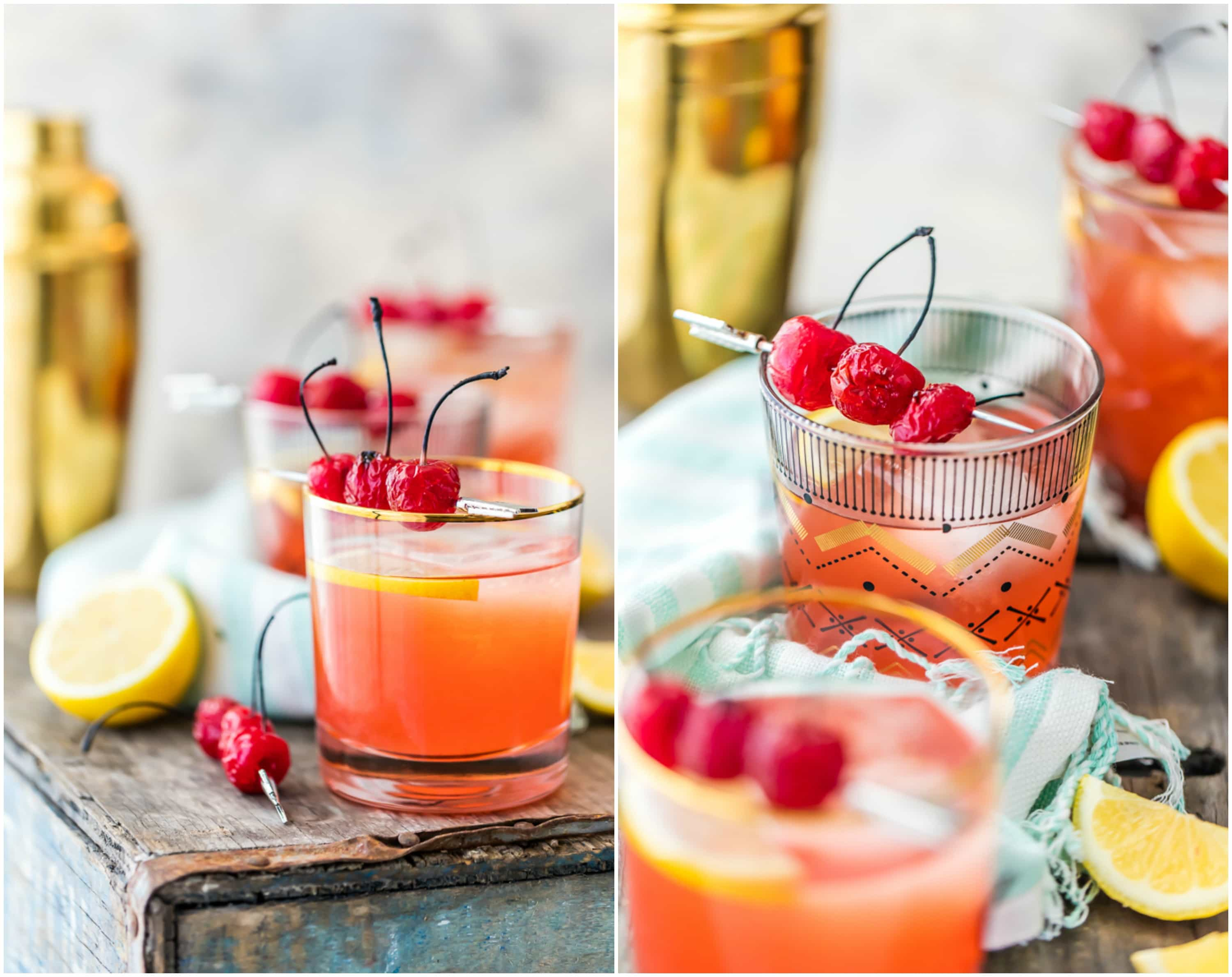 broiled cherry whiskey sours in glasses
