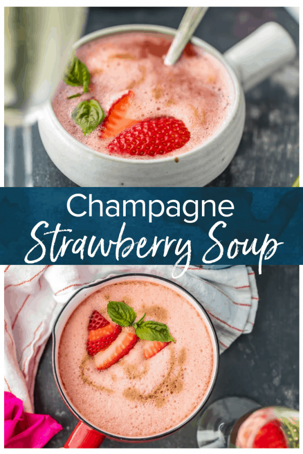 Strawberry Champagne Soup, served hot or as a chilled soup, is the perfect side dish or appetizer for Valentine's Day, baby showers, bridal showers.