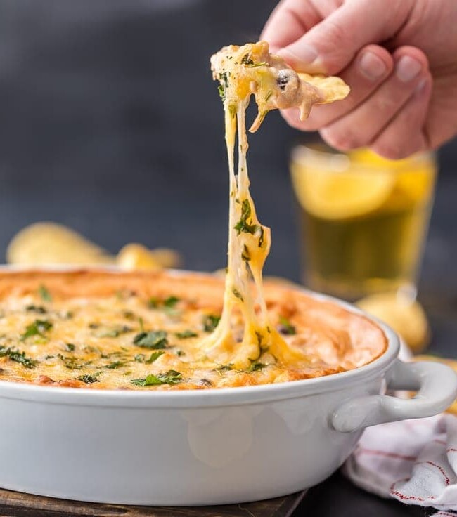 This Cheesy Chicken Enchiladas Dip is spicy and full of flavor. It's possibly the BEST DIP EVER! This spicy chicken dip is exactly what you need for any party!