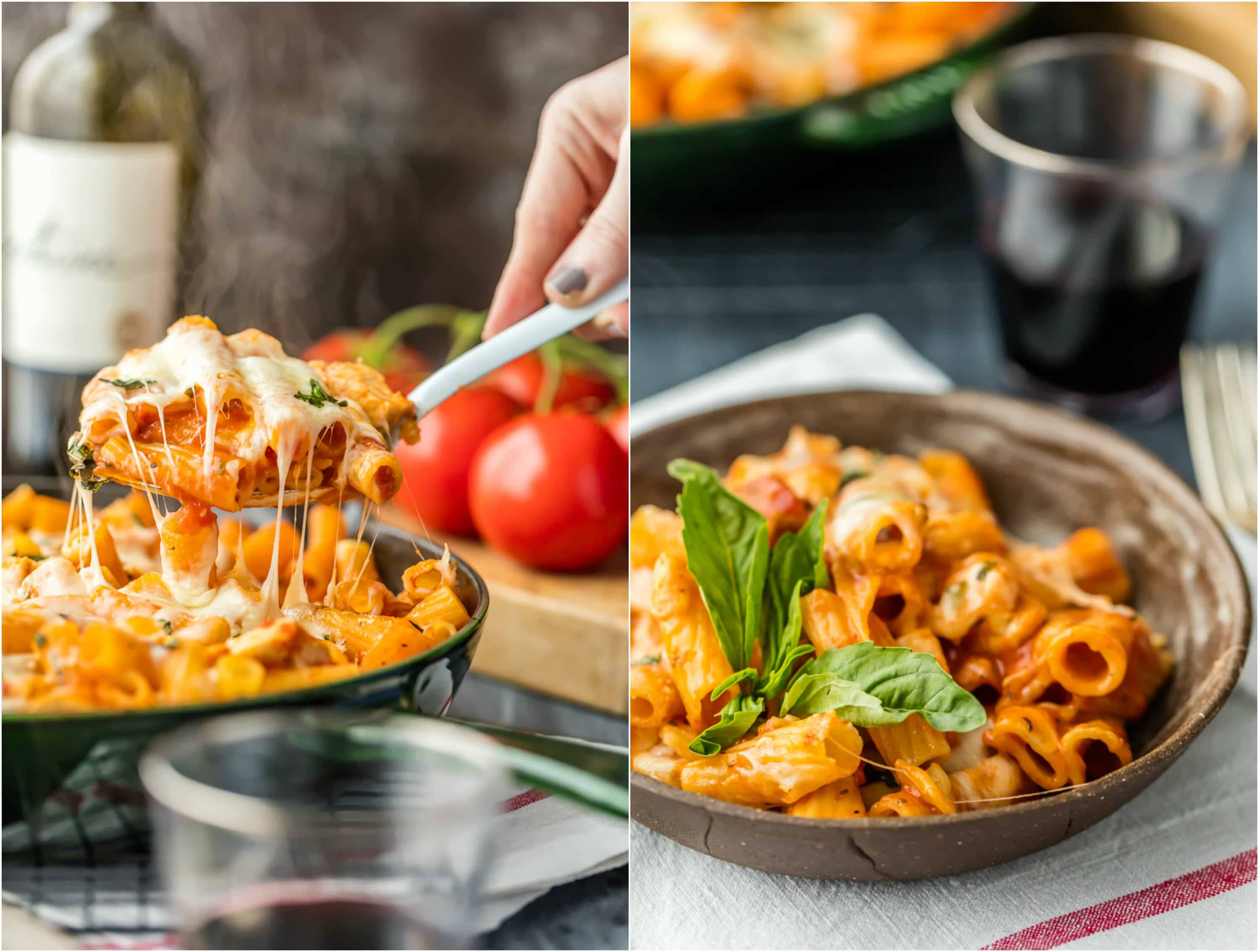 One pot chicken parmesan pasta only 6 ingredients video for Easy things to make for dinner for two