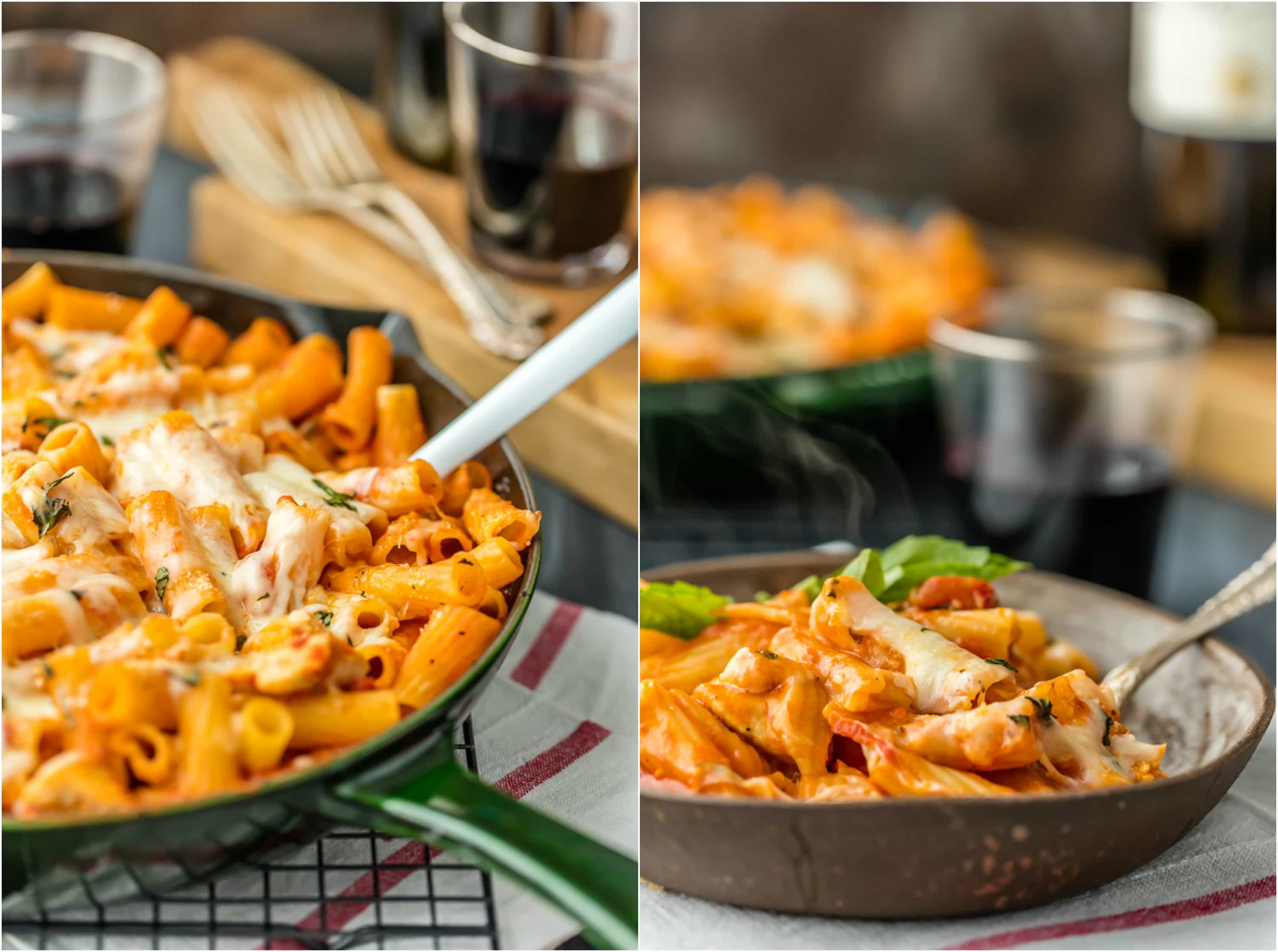 ONE PAN Chicken Parmesan Pasta Skillet, with only 6 ingredients! This is our go-to easy recipe anytime we are craving comfort food. Delicious one pot pasta everyone will love!
