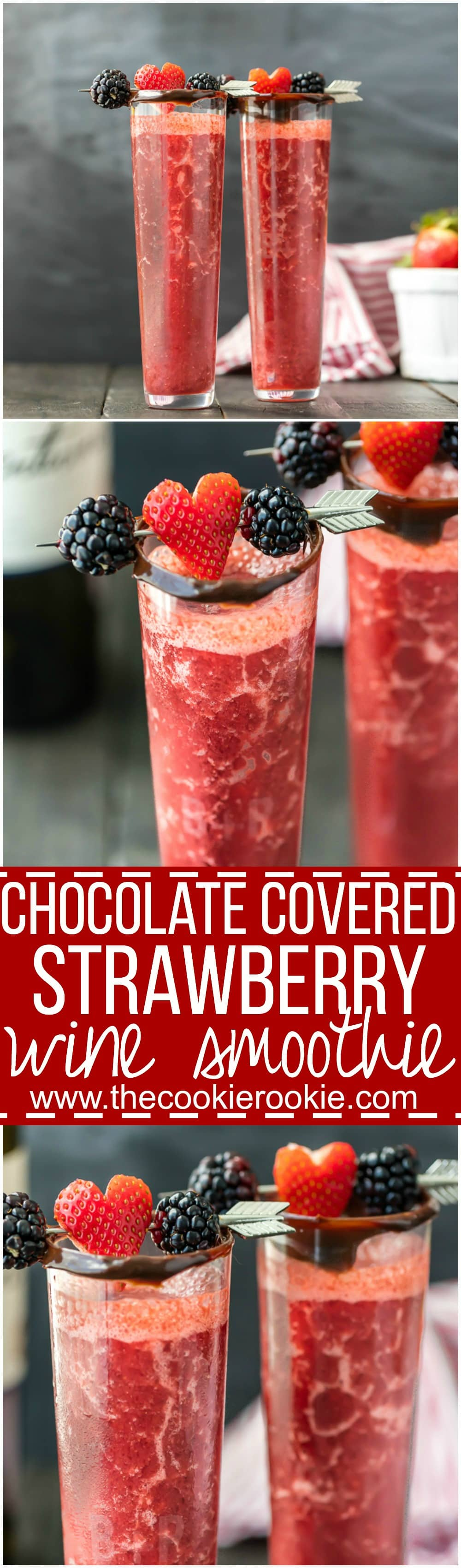 Chocolate Covered Strawberry Wine Smoothie - The Cookie Rookie