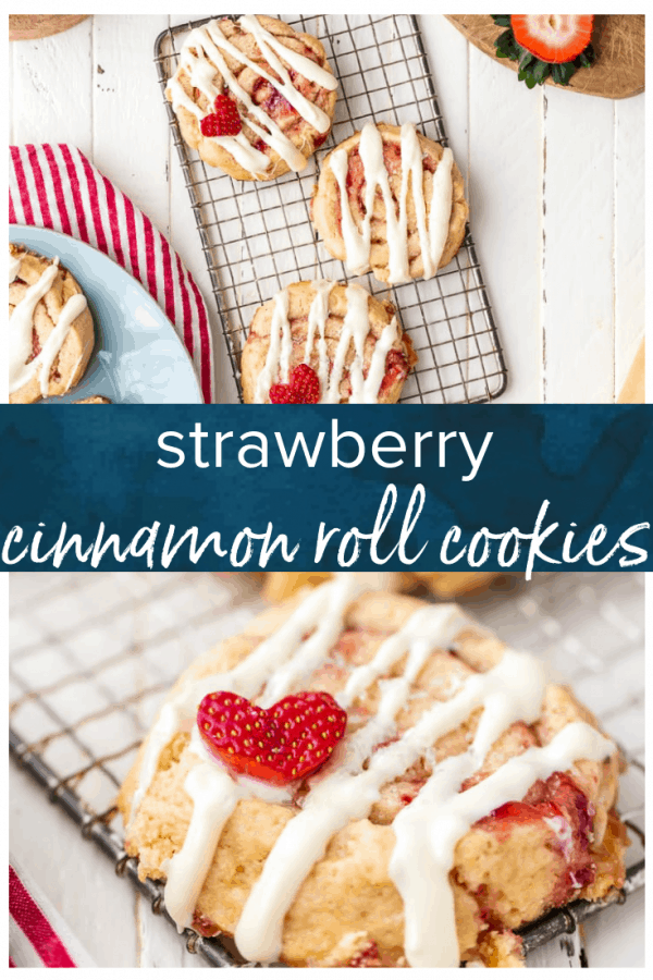 Strawberry Cinnamon Roll Cookies are the perfect Valentine's Day cookies! This easy cookies recipe is sweet, fun, and perfect for any loved one. #thecookierookie #valentinesday #cookies #strawberry #dessert