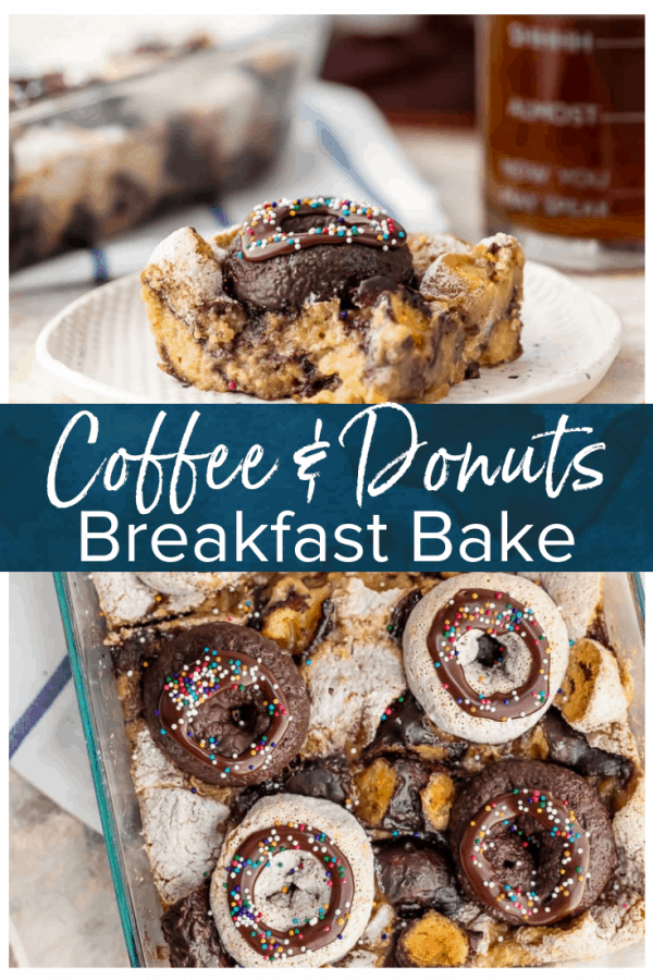 Coffee and Donuts is a classic American breakfast combination, and this breakfast bake recipe puts those two flavors together beautifully. Use the mini chocolate and powdered sugar donuts we all love to create this easy breakfast casserole recipe! #thecookierookie #donuts #coffee #coffeeanddonuts #breakfast