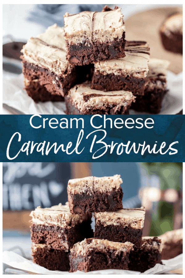 Cream Cheese Brownies are the perfect mix of rich chocolate and creamy frosting! These caramel brownies with cream cheese frosting are so delicious and so easy to make too. You're going to love this cream cheese brownie recipe! #thecookierookie #brownies #creamcheesebrownies #dessert #baking #valentinesday