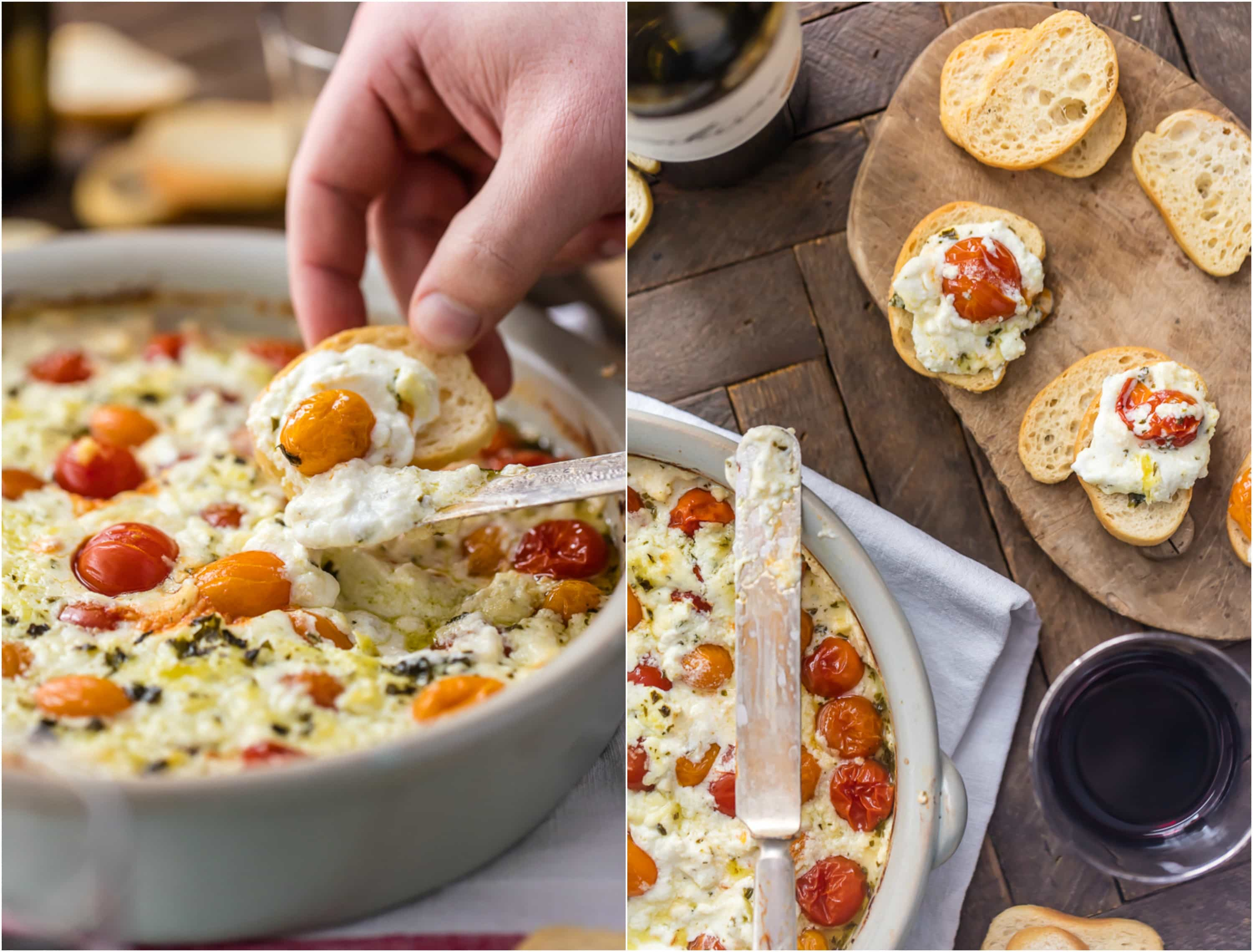 photo collage of goat cheese dip