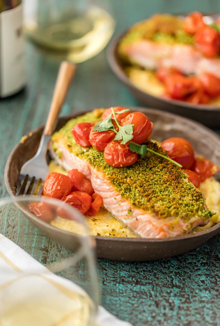 healthy salmon recipe with cheese polenta and tomatoes