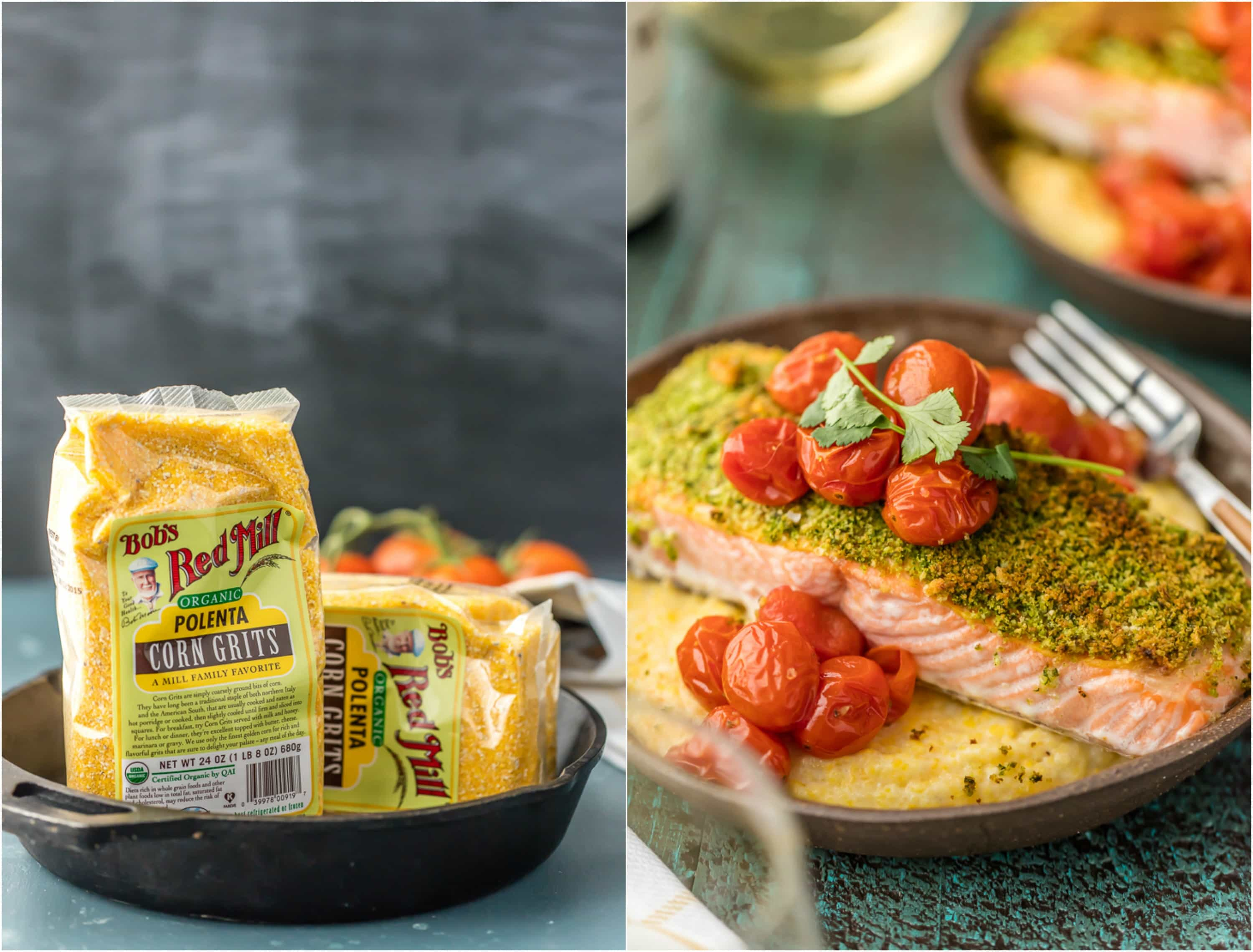 Bob's Red Mill organic polenta corn grits in a pan and crusted salmon