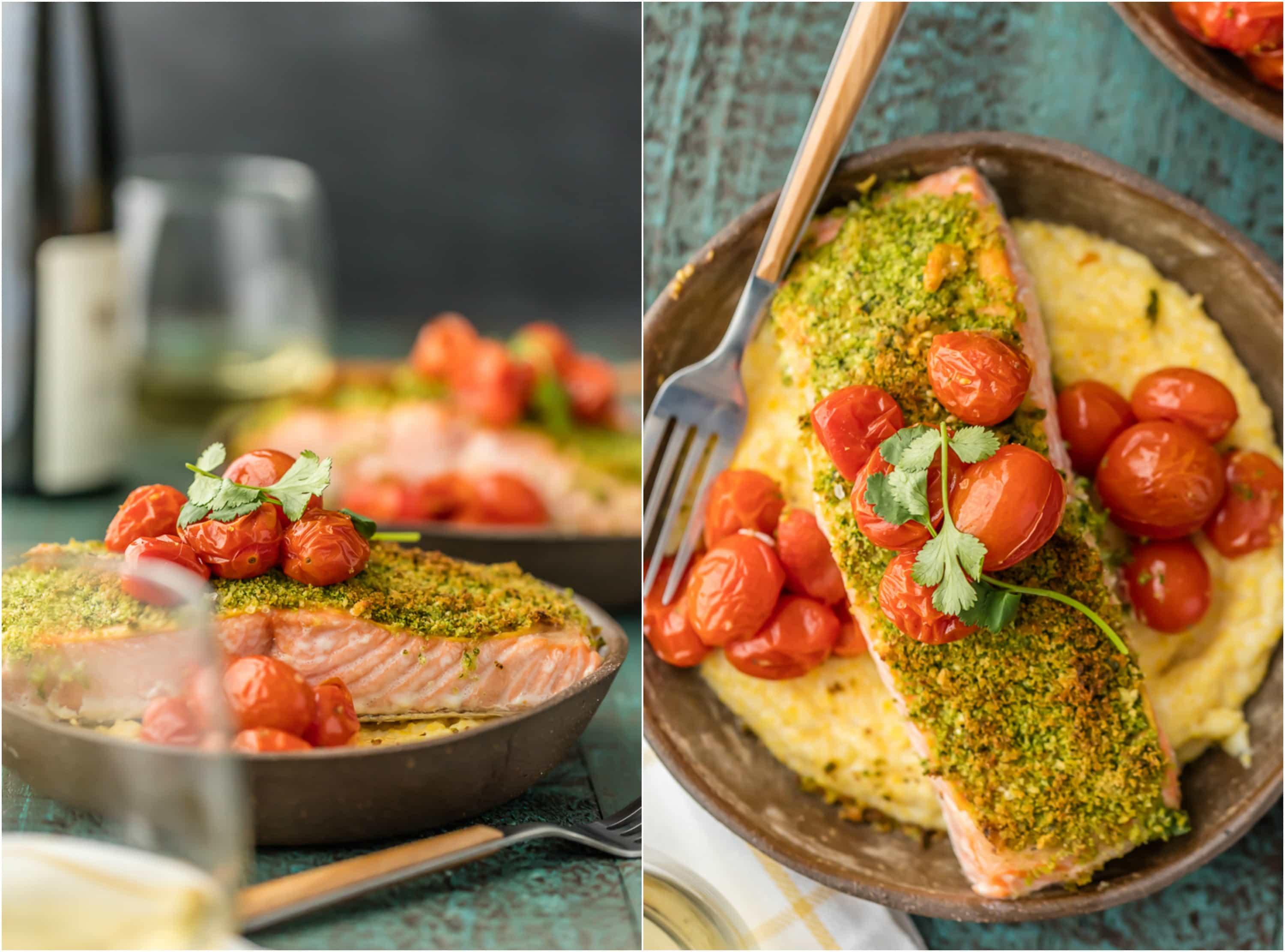 herb crusted salmon and polenta, topped with roasted tomatoes
