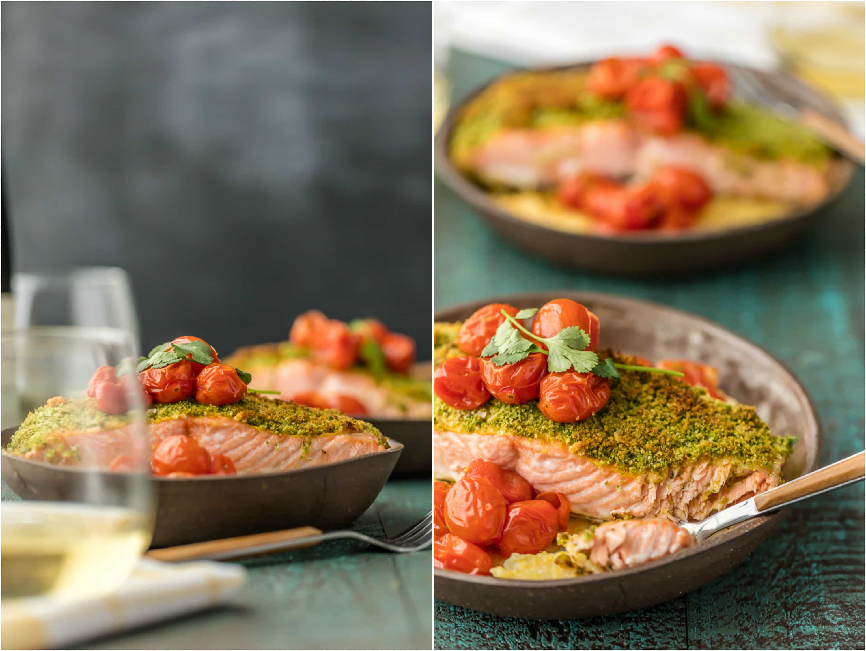 Herb Crusted Salmon with Goat Cheese Polenta is our favorite easy healthy recipe! So much flavor in the basil crusted salmon, tomatoes, and creamy goat cheese polenta! Delicious seafood recipe!